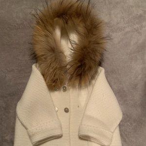 pangasa Jackets & Coats - Baby girl fur hood cardigan